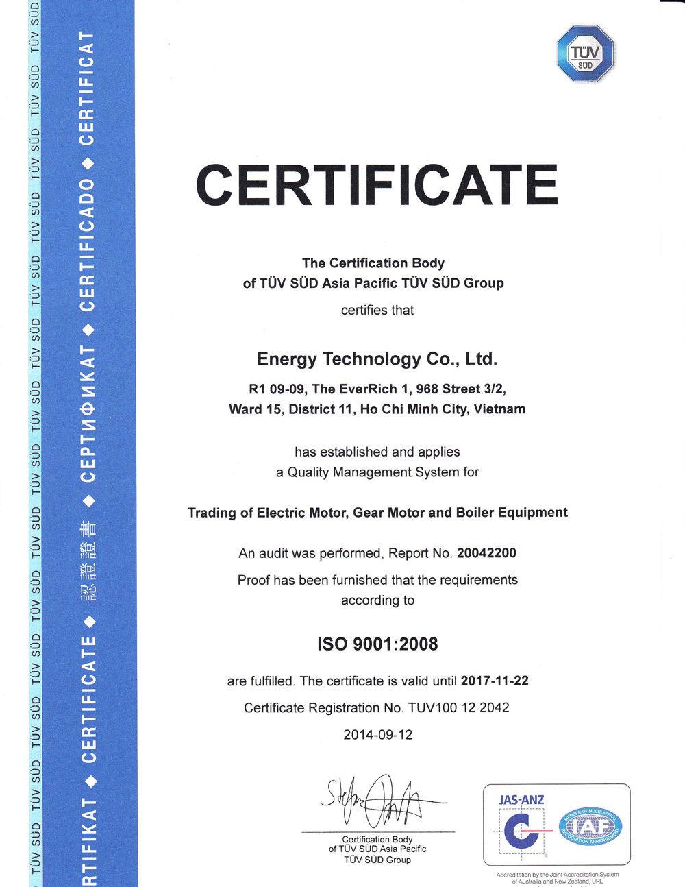 Enertech đạt chứng nhận ISO 9001-2008